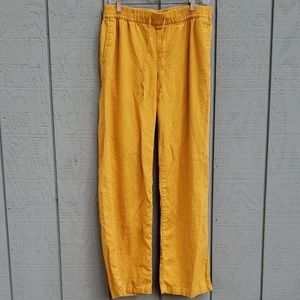 Yellow Linen/ Rayon Pants, W.Tall